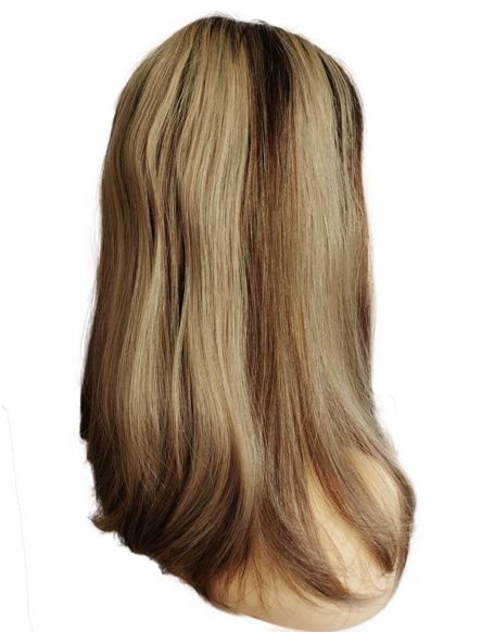"""18"""" Ash Blonde With Rooting Lace Top Wigs 100% Virgin Cuticle Human hair"""