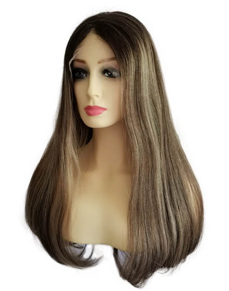 """22"""" Lace Top Wigs Honey Blonde Chestnut Brown with Rooting 100% Virgin Cuticle Human Hair"""